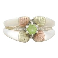 Sterling Silver Peridot Black Hills Gold Green and Gold Leaf Design Band Ring Size 6 1/4