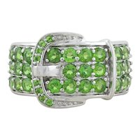 Sterling Silver Green Peridot Buckle Ring Size 6 1/4