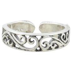 Sterling Silver Scrolling Filigree Toe Ring Size 2 1/4 Adjustable