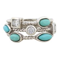 Sterling Silver Turquoise and Cz Multi Stack Band Ring Size 6 1/4 Joseph Esposito