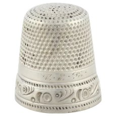 Antique Sterling Silver Sewing Thimble MKD Sterling Ketcham & McDougall Size 12
