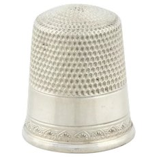 Sterling Silver Sewing Thimble Scallop Border Size 10