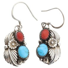 Sterling Silver Red Coral and Turquoise Flower and Leaf Earrings Dangle Drop Earrings