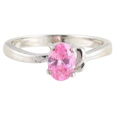 Sterling Silver Simulated Glass Pink Topaz Ring Size 7