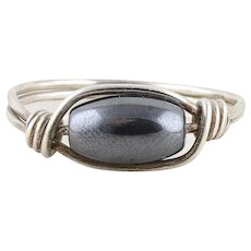 Hematite Sterling Silver Wire Band Ring Size 6