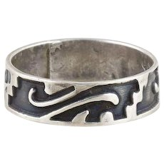 Sterling Silver Swirl Pattern Band Ring Size 4 3/4
