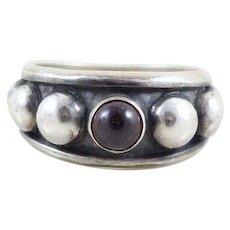 Sterling Silver Garnet Beaded Ring Size 6 1/2