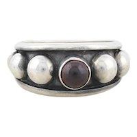 Sterling Silver Garnet Beaded Ring Size 6 1/4
