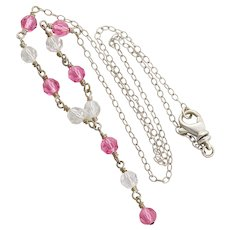 Sterling Silver Pink and Clear Crystal Lariat Necklace 19 inch Chain