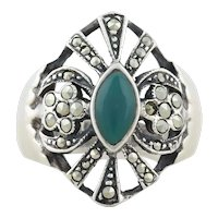 Sterling Silver Green Onyx and Marcasite Ring Size 8 1/4 Beautiful Large Bold Ring