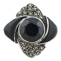 Sterling Silver Onyx and Marcasite Ring Size 6 1/4 Chunky Silver Ring