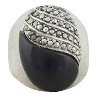 Sterling Silver Onyx and Marcasite Ring Size 6 Bold Silver Ring