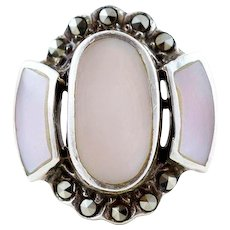 Pink Mother of Pearl and Marcasite Ring Sterling Silver Size 6