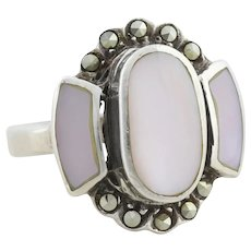 Sterling Silver Pink Mother of Pearl and Marcasite Ring Size 6 1/4
