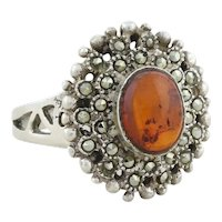 Sterling Silver Amber and Marcasite Halo Ring size 7 1/4