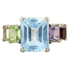 Gold Plated Sterling Silver Ring Blue Topaz Garnet Amethyst Peridot Citrine Size 7