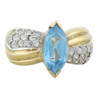 Gold over Sterling Silver Blue Topaz Ring Size 6 1/4