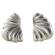 Sterling Silver Earrings Puffy Shell Design