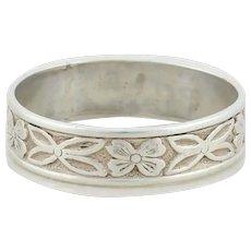 Sterling Silver Flower Band Ring size 5 1/2 Vintage Uncas Art Deco