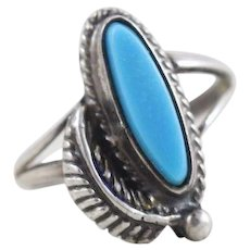 Sterling Silver Turquoise Navajo Leaf Ring Size 4 1/2