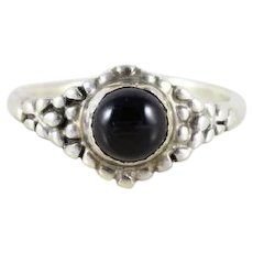 Sterling Silver Onyx Band Ring Size 5 3/4