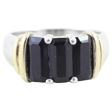 Sterling Silver Onyx Band Ring with Gold Plated Accents Size 8