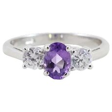 Sterling Silver Amethyst and CZ Ring Size 7