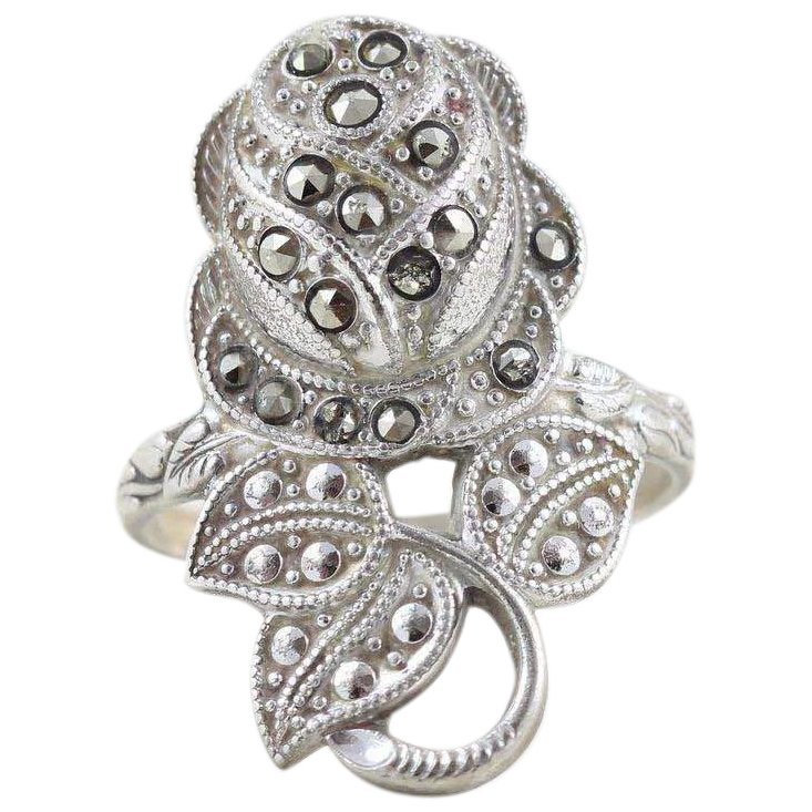 Marcasite Ruby Ring Marcasite Ring Vintage Marcasite Ring Ruby Ring Marcasite Victorian Ring Marcasite Silver Ring Marcasite Gift Ring