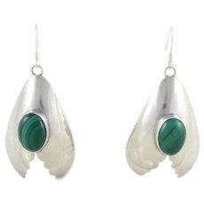 Malachite Dangle Drop Earrings Large Sterling Silver Navajo Earrings
