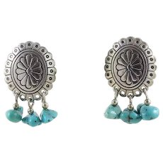 Sterling Silver Concho Turquoise Dangle Earrings