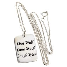 Sterling Silver Inspirational Tag Necklace Live Well Love Much Laugh Often  20 inch Chain