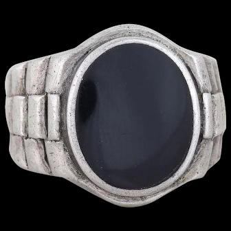 Men's Sterling Silver Black Onyx Ring Size 8 3/4