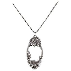 Sterling Silver Rose Spoon Necklace 18 inch Chain