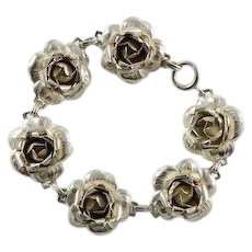 Large Sterling Silver  Flower Link Bracelet 7 1/4""