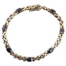 """Natural Sapphire Bracelet Gold Plated Sterling Silver  7 1/4"""""""