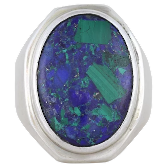 Mens Sterling Silver Azurite Malachite Ring Size 10 1/2