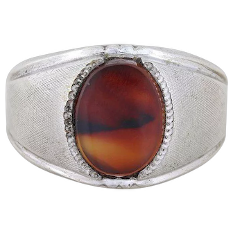 Mens Sterling Silver Montana Moss Agate Ring Band Size 11 1/4