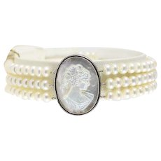Sterling Silver Pearl Bracelet with Mother of Pearl Cameo