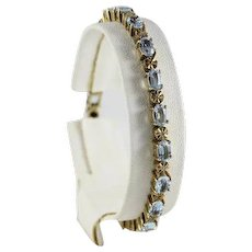 Gold Plated Sterling Silver Blue Topaz and Diamond Tennis Bracelet