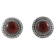Sterling Silver Carnelian Clip On Earrings Large Button Earrings