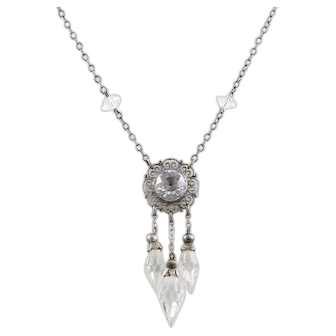 Art Deco Sterling Silver Crystal Necklace 17 1/2 inch Chain