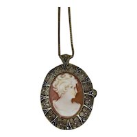 "Cameo Marcasite Pin and Pendant Gold Over Sterling Silver with 18"" Chain"