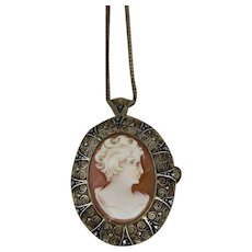 """Cameo Marcasite Pin and Pendant Gold Over Sterling Silver with 18"""" Chain"""