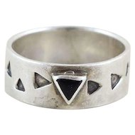 Sterling Silver Onyx Triangle Band Ring Size 7 3/4