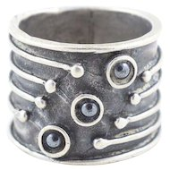 Chunky Sterling Silver Hematite Band Ring Size 6 3/4 Cigar Band