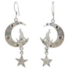 Wolf Moon Star Dangle Drop Earrings Taxco Mexico Sterling Silver