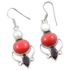 Sterling Silver Coral Pearl and Garnet Dangle Drop Earrings