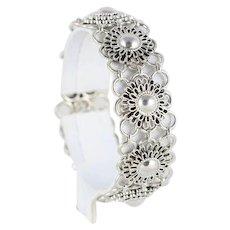 """Large Sterling Silver Flower Link Bracelet S Hook 7 1/4"""""""