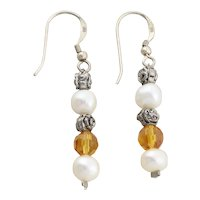 Sterling Silver Pearl and Flower Earrings White and Yellow Dangle Drop Earrings