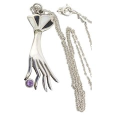 Sterling Silver Hand Holding Amethyst Necklace 18 inch chain